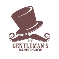Barber shop logo or gentleman hairdresser vector icon