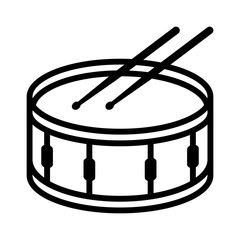 Snare drum or side drum with drumsticks musical instrument line art vector icon for music apps and websites
