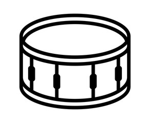 Snare drum or side drum musical instrument line art vector icon for music apps and websites