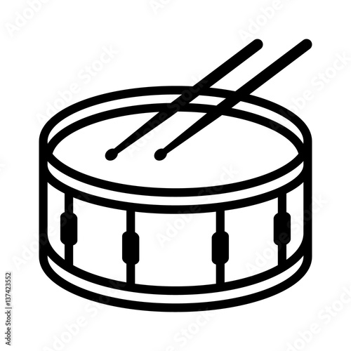 Snare Drum Or Side With Drumsticks Musical Instrument Line Art Vector Icon For Music Apps