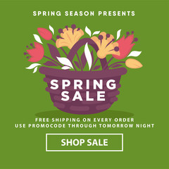 Spring sale poster web store template of vector flowers wicker