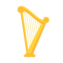 Golden harp icon in flat style design. Musical instrument symbol of Ireland. St Patrick day element illustration.