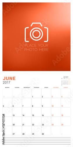 wall calendar planner template for june 2017 week starts monday