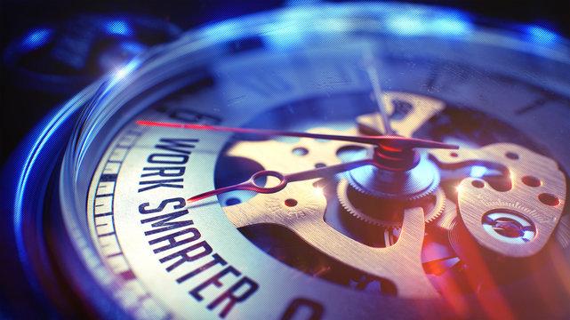 Work Smarter - Wording on Vintage Watch. 3D Render.