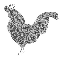 Vintage vector rooster with tribal ornaments. Symbol of 2017 year. Traditional ethnic tattoo, African, Indian, Thai, spirituality, boho design. For print, posters, t-shirts, textiles, coloring book.