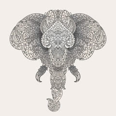 Vintage vector elephant head with tribal ornaments. Traditional ethnic background, tattoo, African, Indian, Thai, spirituality, boho design. For print, posters, t-shirts, textiles, coloring book.