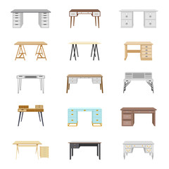 Set of fifteen office desks. Vector illustration