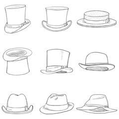 40d9ff65887f5 Vector Set of Cartoon Classical Types Hats. Homburg