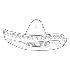 Vector Single Sketch Traditional Mexican Hat. Sombrero.