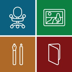 Set of 4 Education outline icons
