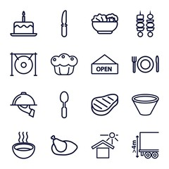 Set of 16 plate outline icons