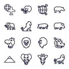 Set of 16 africa outline icons