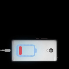 Phone charging. Hologram of battery.