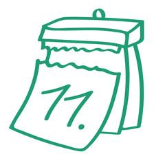 Handgezeichneter Kalender - Tag 11 in grün