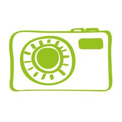 Handgezeichnete Kamera in hellgrün