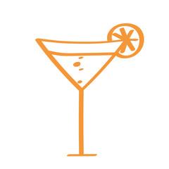 Handgezeichneter Cocktail in orange