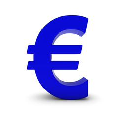 Blue Euro Symbol Isolated on White with Shadows 3D Illustration