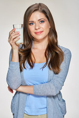 Woman holding milk glass. Isolated portrait
