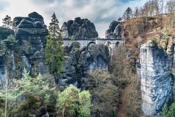 Basteibrücke als Festung im Elbsandsteingebirge in Sachsen Ostdeutschland