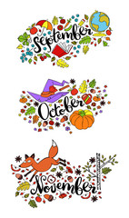 Autumn months. September. October. November. Isolated vector objects on white background.