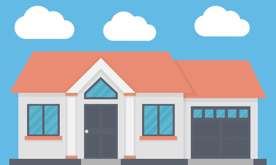Family house with garage. Front view. Flat design