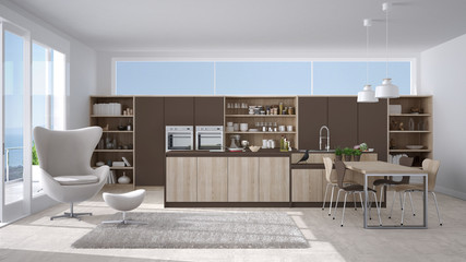 Modern white and brown kitchen with wooden details, big window with sea or lake panorama