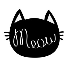 Black cat head. Meow lettering contour text. Cute cartoon character silhouette. Kawaii animal icon. Baby pet collection. Sign Symbol. Flat design style. White background. Isolated.