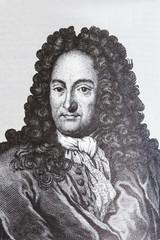 Portrait of the scientist philosopher Gottfried Wilhelm Leibniz