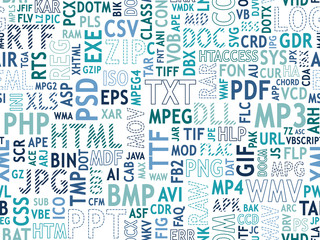 Seamless pattern design. File type names collage. Blue and turquoise colors, different font types, strips, dotted lines, stroke. Vector illustration.