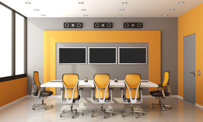 Gray and orange modern boardroom