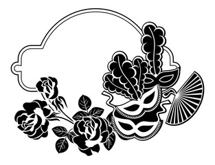 Silhouette round frame with carnival masks. Raster clip art.