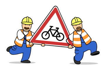 Achtung Radfahrer kreuzen als Verkehrsschild