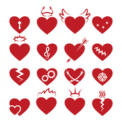 Simple abstract heart shapes icons. Vector burned and broken, pierced by arrow, keyhole hearts signs