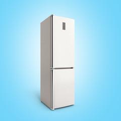 Stainless steel modern open refrigerator on blue 3d illustration