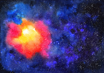 Watercolor space. Abstract cosmic background. Watercolor hand-drawn illustration