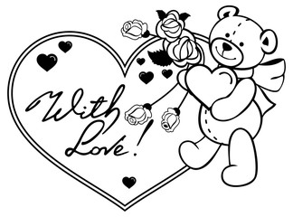 Heart-shaped frame with outline roses, teddy bear holding heart