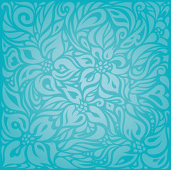 Turquoise  floral holiday vector vintage background design
