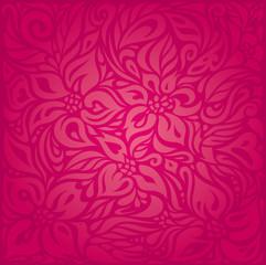 Red floral vector pattern wallpaper design background