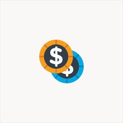coins icon flat design