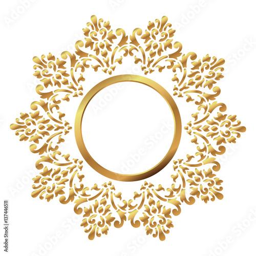 vintage frame circular baroque pattern round floral ornament