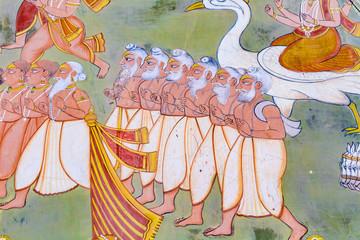 Fresco of Hindu wise men outside Mehrangarh Fort