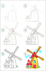 Page shows how to learn step by step to draw a windmill. Developing children skills for drawing and coloring. Vector image.