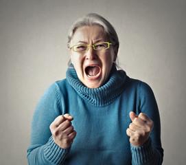Furious woman screaming