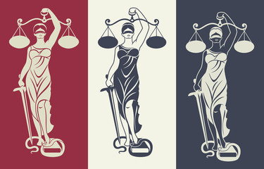 lady justice Themis 3/ Vector illustration silhouette  of Themis statue holding scales balance and sword isolated on colored background. Symbol of justice, law and order