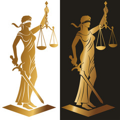 lady justice Gold/ Justice Goddess Themis, lady justice Femida. Stylized contour vector. Blind woman holding scales and sword.