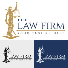 Logo law firm lady justice/ Justice Goddess Themis, lady justice Femida. Stylized contour vector. Blind woman holding scales and sword.