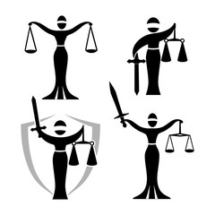 lady justice black set/ Vector illustration of Themis statue holding scales balance and sword isolated on white background. Symbol of justice, law and order.