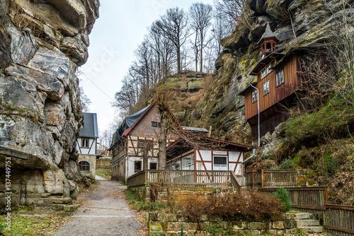verlassenes dorf am rande des elbsandsteingebirge in der. Black Bedroom Furniture Sets. Home Design Ideas