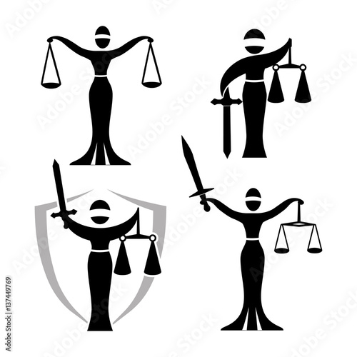 quotlady justice black set vector illustration of themis