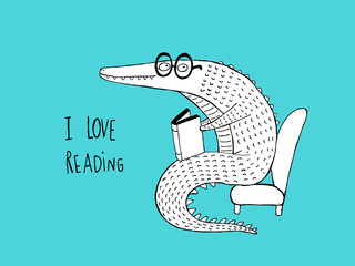 I Love Reading, Crocodile reading a book, black and white on blue background. Hand drawn vector illustration